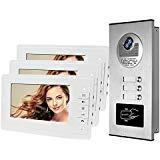 HFeng 7 '' Color Wired Video Citofono Citofono Kit 700TVL RFID Telecamera per ingresso di accesso Campanello IR Visione notturna per multi-appartamenti/famiglia / casa 100 metri (1 camera 3 monitors)
