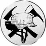 S.B.J - Sportland Pokal/Medaille Emblem, Motiv Feuerwehr, Durchmesser 50 mm, silber