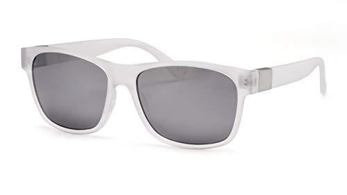 Filtral Eckige Sonnenbrille/Mit transparentem Rahmen & silber verspiegelten Gläsern F3021139