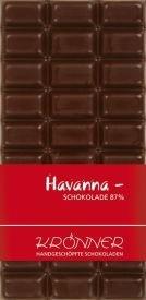 Krönner Havanna Edelbitter Schokolade, handgeschöpft, kräftiger Kakao Geschmack, 100 g Tafel, Kakao 80%