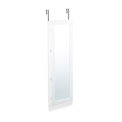 Relaxdays Schmuckschrank mit Spiegel, Schmuckkasten hängend für Tür, Schmuck Spiegelschrank, HxBxT: 120x36,5x10cm, weiß - 2