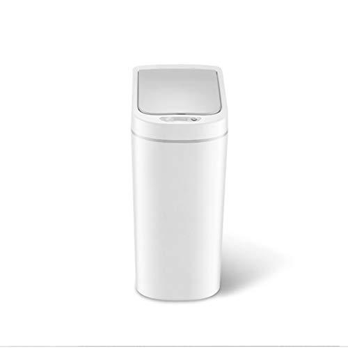 Zlw-shop Secchi per la spazzatura Induzione Smart Trash Can Home Cucina Bagno WC Impermeabile White Trash