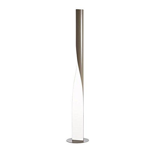 Evita Stehleuchte, taubengrau glänzend Diffusor opalin satiniert H:190cm Ø34.5cm mit Dimmer - Stehleuchte Diffusor