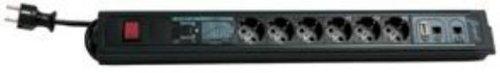 REV Ritter Internet PC-Leiste - ISDN Steckdosenleiste 6 - fach mit Spannungsschutz 3.7 m schwarz