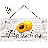 BridgetWhy50 Señal de melocotón, decoración rústica, Madera Envejecida, señal de Fruta, 12