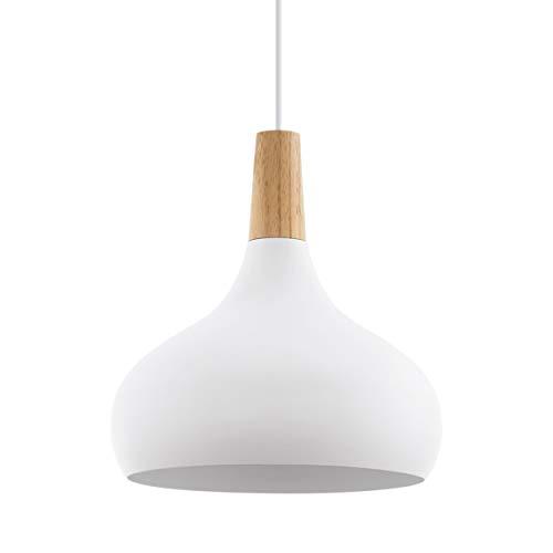EGLO Sabinar Pendellampe, 1 flammige Pendelleuchte, Hängelampe aus Stahl und Holz, Fassung: E27, Ø: 28 cm, Farbe: Weiß, braun
