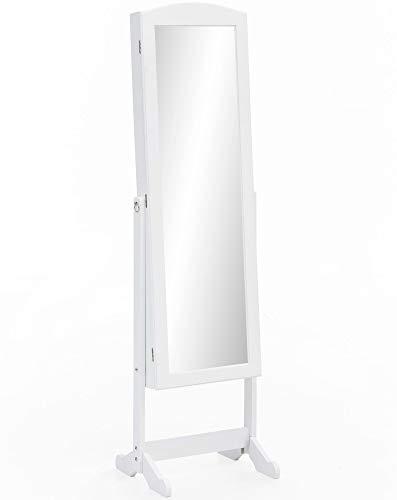 FineBuy Ankleidespiegel 42x156x38 cm Weiß Holz Spiegelschrank Groß | Ganzkörper-Spiegel mit Rahmen Flur | Ankleidespiegel Landhaus Schmuck Aufbewahrung | Flurspiegel Lang Modern Rechteckig