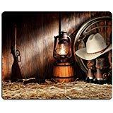 MSD Naturkautschuk Mousepad Bild-ID: 11356334American West Rodeo Cowboy Authentic Arbeiten Gear mit Weiß Stroh hat auf echtem Roper Stiefel aus Leder und Old Western in einer Vintage Ran 1122 -