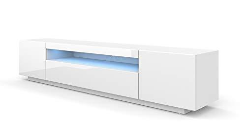 BIM Furniture LOWBOARD 200 cm TV Schrank Solo, Unterschrank mit LED, Fernsehschrank, TV Board, Sideboard RTV, TV Schrank, HiFi-Tisch, LED Beleuchtung Weiß Schwarz Grau Graphit Hochglanz (Weiß) -