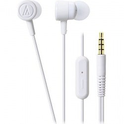 Audio-Technica ATH-CKL220iS-WH In-Ear Headphones with Mic (White)