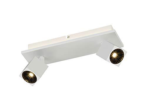 Projecteur de plafond à 2 ampoules LED blanc mat avec éclairage indirect, spots LED orientables pour un design individuel.