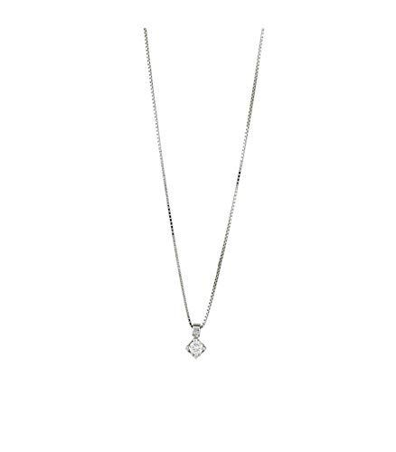 5869ae560cc857 Gioielli di Valenza Collana Punto Luce in Oro Bianco 18k con Diamante