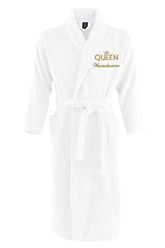 Nashville print factory Sol´s Bademantel Palace Morgenmantel Bestickt mit Wunschname und Motiv/King/Queen/Krone Gold Partner-Look Sauna Bad Name (S/M, Queen + Name)