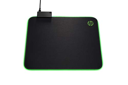 HP Pavilion Gaming Mouse Pad 400, superficie di 350x280mm, illuminazione LED personalizzabile, passthrough USB integrato, Nero