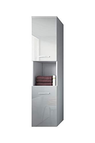 Badplaats B.V. Badezimmer Schrank Montreal 131 cm Weiß Hochglanz Fronten - Regel Schrank Hochschrank Schrank Möbel