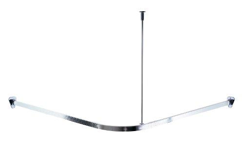 RIDDER 52000 Duschvorhangschiene, Duschvorhangstange, ca. 90 x 90 cm, Aluminium, poliert
