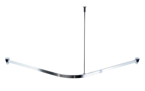 duschvorhang aufhaengung Ridder 52000 Duschvorhangschiene, Duschvorhangstange, ca. 90 x 90 cm, Aluminium, poliert