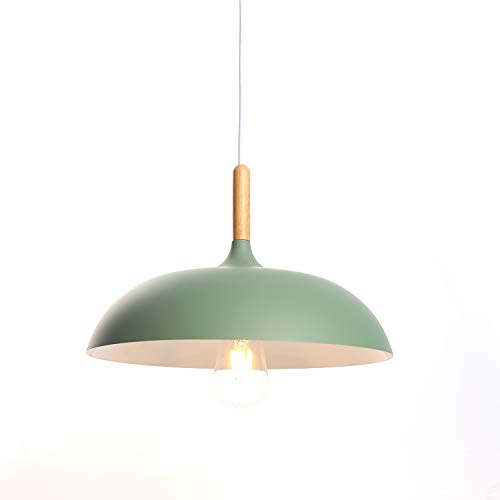 Modern Metal Suspension Luminaire Industrielle Plafonnier Lustre E27 Edison Culot Abat-jour Eclairage de Plafond Plafonnier Lustre Suspensions Lumiere(Vert)