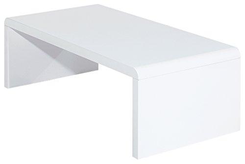 ACTUAL DIFFUSION Vintage Table Basse Blanche Rectangle Panneaux Epais Bois, 60x120x35 cm