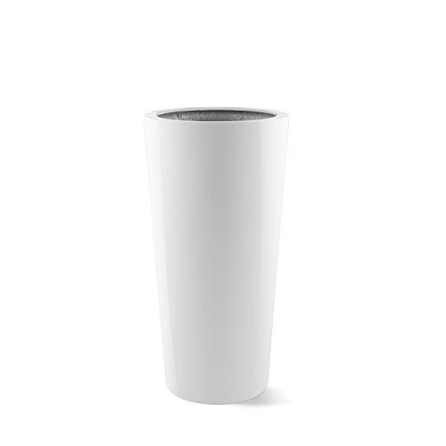 """Pflanzkübel """"Argento Vase"""" Weiß Hochglanz Rund Fiberglas *5 Jahre Garantie* - 47x47x90cm - F1135"""