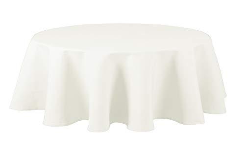 Maltex24 Textil Tischdecke - Leinen Optik - wasserabweisend oval (Weiss, oval 160x220)