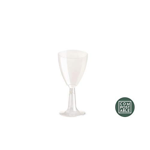 20 bio calici vino acqua 100 cc h. 9,5 bicchieri con gambo pla trasparenti rigido biodegradabili e compostabili uni en13432 smaltiti nel rifiuto umido - flute per vini e bevande