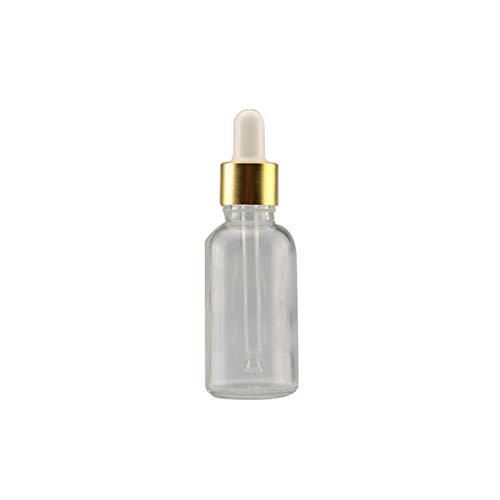 -100 ml Klarglas Reagenzflüssigkeit Pipette Leere Kosmetik Flasche, Glas, 15ml Transparent + Golden + White ()
