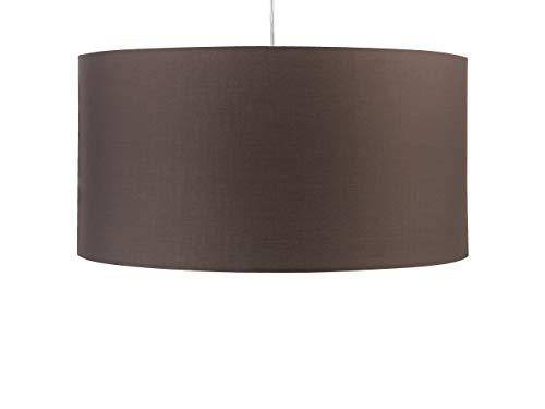 Klassische Hängelampe Leuchte runder Lampenschirm aus Polyester braun