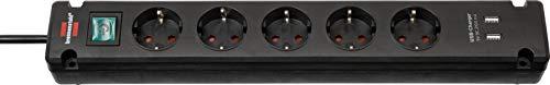 Brennenstuhl Bremounta Steckdosenleiste 5-Fach mit USB-Ladefunktion (Steckerleiste mit Befestigungsmöglichkeit, 3m Kabel und Kindersicherung) schwarz