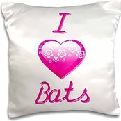 Pretty Pink Flowery I Love Animals Heart - Pretty Pink Flowery I Love Bats - 16x16 inch Pillow Case