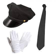 Chauffeur Kappe Limo Taxifahrer Hut, Weiße Handschuhe und Schwarze Schnür Kostüm Set by Blue Planet (Weiße Kostüm Chauffeur)
