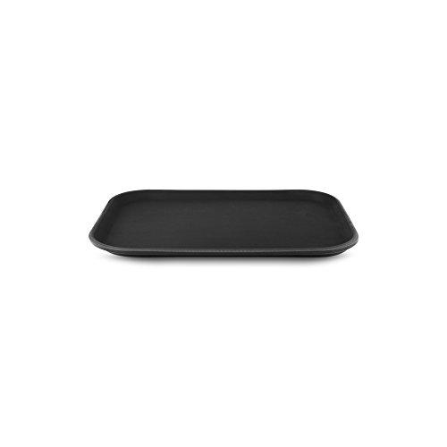 Tablett (35 x 25 cm, rutschfestes Tablett, rechteckig, Kunststoff, schwarz, Gastronomie, Restaurant Pub Bar)
