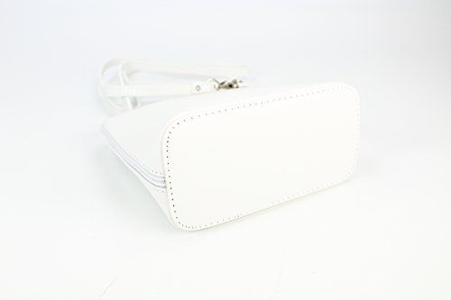 italiano Borsa in pelle piccolo pratico Borsa a tracolla Ladies elegant borsa a tracolla , 17x16,5x8,5 cm (B x H x T) Bianco