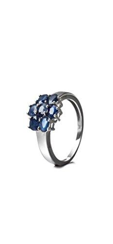 Silvancé - Damen Ring - 925 Silber, rhodiniert - echter Edelstein: Saphir, blau ca. 1.66ct. - R3360BSap / Gr. 57 (18.1)