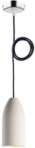 """Betonlampe (hängend), Textilkabel\""""Dunkelblau\"""" (26 Farben wählbar), 7,5 x 16 cm, incl. LED (Dimmbar), Küchenlampe Buchenbusch urban design"""