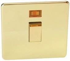 20A DP SWITCH AND NEON, POLISHED BRASS 7011/3PB By CRABTREE