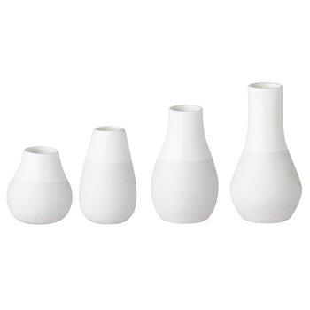 ivasen 4er Set Porzellan Höhe 4 - 8,5cm (Kleine Weiße Vase)