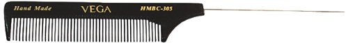 Vega Tail Comb with Steel Pin and Fine Tooth, Black