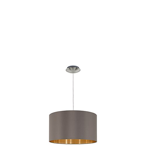 EGLO Hängeleuchte Maserlo Durchmesser 38cm Nickel-Matt Schirm Cappucino Gold, Stahl, E27, 38 x 38 x...