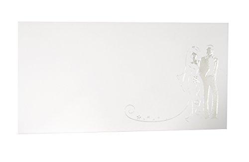 25buste per partecipazioni di nozze. din lang umschläge 110 x 220 mm in weiß mit brautpaar rechts