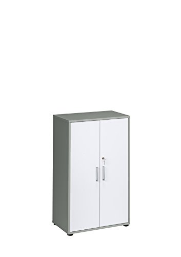 MAJA Möbel Magic 1596 Aktenschrank platingrau - ICY-weiß, Abmessungen (BxHxT): 69 x 111,20 x 40 cm, Holz, 69 x 40 x 111,20 cm