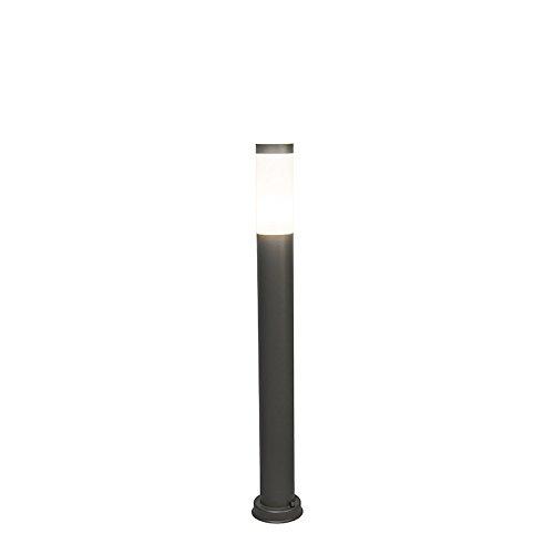 QAZQA Moderne Balise extérieure 80 cm - Rox Plastique/Acier inoxydable Anthracite,Gris Cylindre/Oblongue E27 Max. 1 x 60 Watt/Jardin / Luminaire/Lumiere / Éclairage