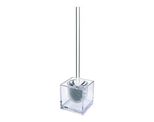 WATERCLOU innovative WC-Bürstengarnitur Silikon ohne Borsten - Stiel und Behälter Acryl transparent mit Sichtschutz grau