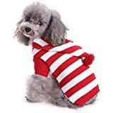 Yunison Hunde-Kürbis-Kostüm, Halloween-T-Shirt, Haustier-Kleidung, Welpen-Outfits, L, Red White Stripe