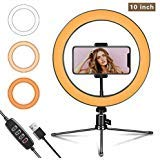 "LED Ring Light 10"" with Tripod Stand and Flexible Phone Holder for YouTube"
