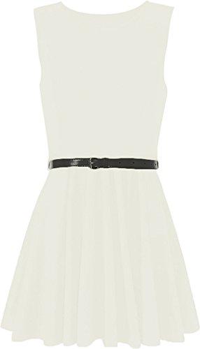 WearAll - Damen ärmellos Kurz Kleid mit Gürtel - Weiß - (Schlumpfine Damen Für Kostüm)