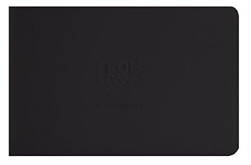 Clairefontaine 60342C - Un carnet CroK'BooK piqué format à l'italienne 17x11 cm 24 Feuilles unies 90 g, couverture noire