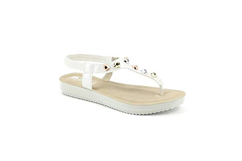 INBLU Sandalo Infradito con Elastico Donna Bianco BM36 (39 EU)