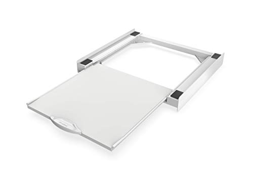Meliconi Base Torre Pro Kit di Sovrapposizione Universale per Lavatrice e Asciugatrice con Ripiano Estraibile e Cinghia di Sicurezza Inclusa. Made