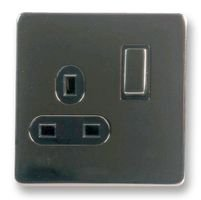SOCKET SINGLE SWITCHED BLACK NICKEL BN1899 By PRO ELEC -